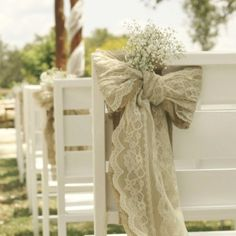 Burlap, lace, and baby's breath bow wedding aisle decor. @ Wedding Day Pins : You're Source for Wedding Pins!Wedding Day Pins : You're Source for Wedding Pins! Wedding Aisles, Wedding Bows, Lace Weddings, Chic Wedding, Fall Wedding, Our Wedding, Wedding Flowers, Dream Wedding, Wedding Burlap