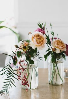 Garden roses + Berries + Jars