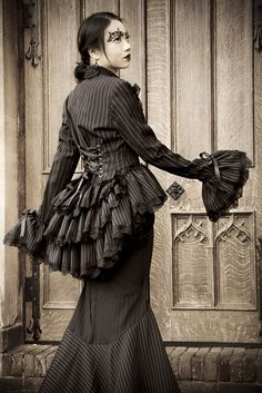 cdd73274788 Neo Victorian Steampunk Gothic Corset Bustle Jacket Frock Coat Plus Size  Couture