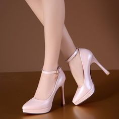 Beige Pink Blue High Heel Platform Wedding Shoes - My Wedding Ideas