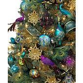 Holiday Lane Christmas Ornaments, Regal Peacock Tree Theme