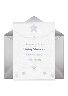 LOVE the idea of a Star Light Star Bright shower and these invites are perfect for it. #babyshower @HUGGIES Baby Shower Planner