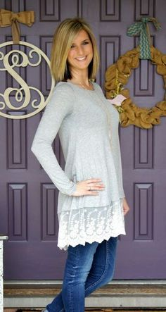 I need more tunic length tops to wear with leggings. I love the lace detail on this one. Seems like a great transition to spring top- Amy