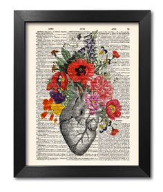 ANATOMICAL HEART WITH FLOWERS [ART 038]   Our vintage prints are a very unique and fun way to style your home. The prints are perfect birthday,