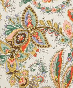 Liberty Fabrics' Flora Belle is lustrously detailed and rich in colour – printed in Liberty's Italian fabric mill on our inimitable Tana Lawn cotton. Shop to discover Liberty print cotton fabric. Motif Paisley, Paisley Art, Paisley Fabric, Paisley Design, Paisley Pattern, Pattern Art, Print Patterns, Paisley Flower, Paisley Background