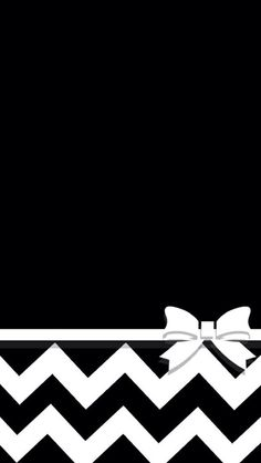 WHITE CHEVRON ON BLACK WITH BOW IPHONE WALLPAPER BACKGROUND