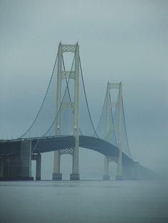 Mackinaw Bridge in Fog, Mackinaw City, MI: