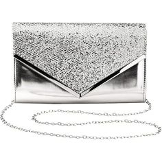 Charlotte Russe Glitter Metallic Envelope Clutch ($17) ❤ liked on Polyvore featuring bags, handbags, clutches, silver, sparkly purses, metallic silver purse, silver envelope clutch, foldover clutches and white clutches