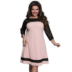 1e538e4e65392 5XL 6XL Large Size 2017 Spring Summer Dress Straight Dresses Big Size Pink  Elegance Lace Dress