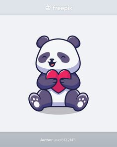Cute panda holding love cartoon illustra... | Premium Vector #Freepik #vector