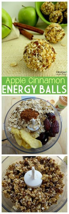 Healthy Apple Cinnamon Energy Balls & Bites with dates, apples, oats and cinnamon. Easy to make. Recipe details on Frugal Coupon Living.