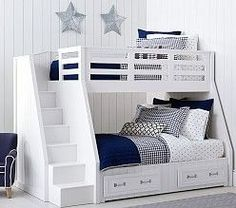 Treehouse Loft Bed Belden Twin-over-Full Stairloft Bunk Modern Bunk Beds, Cool Bunk Beds, Bunk Beds With Stairs, Twin Bunk Beds, Kids Bunk Beds, White Bunk Beds, Custom Bunk Beds, Bunk Beds With Storage, Bed Storage