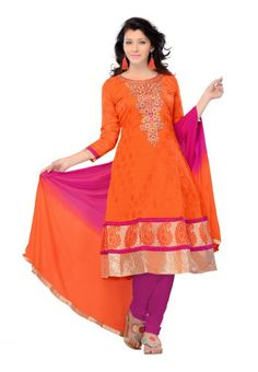 Orange Chanderi Silk Salwar kameez with Embroidery