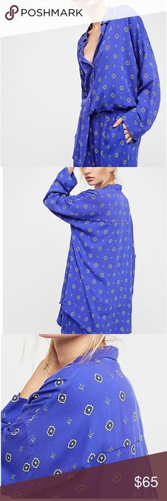 Free People Shirt Printed lounge top featured in a lightweight semi-sheer fabric.  100% rayon.    Oversized silhouette Button closures down the front Long sleeves   Machine Wash Cold Free People Tops