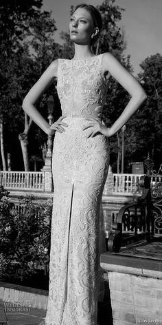 alon livne 2017 bridal sleeveless bateau neckline full embellishment middle slit elegant glamorous sheath wedding dress low v back chapel train (amanda) mv -- Alon Livne White 2017 Wedding Dresses