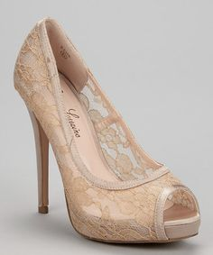 Look what I found on #zulily! Nude Sheer Lace Edie Peep-Toe Pump #zulilyfinds