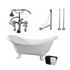 Randolph Morris Clawfoot Tub Package - 72-inch Cast Iron Double Slipper Bathtub, Telephone Faucet with Fixtures