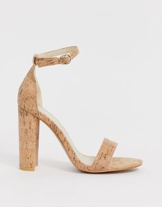 So cute! Glamorous cork barely there block heeled sandals from ASOS.