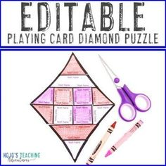EDITABLE Printing Playing Cards Diamond Shape Puzzle Activity | 1st, 2nd, 3rd, 4th, 5th, 6th, 7th, 8th grade - first, second, third, fourth, fifth, sixth, seventh, eighth graders - elementary 5th Grade Classroom, Special Education Classroom, School Fun, Middle School, Reading Recovery, Ell Students, Halloween Math, Make Your Own Puzzle, Classroom Decor Themes