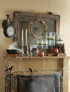 Fireplace mantles are one of the best places to deck out your home in ghoulish decor.