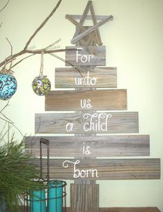 "Large 42""x28"" Rustic Christmas Tree for Mantle or Front Porch , Hand painted For Unto us a child is born."
