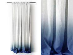 Weiße Leinen Vorhang Ombrè blau Prise Falte von LovelyHomeIdea