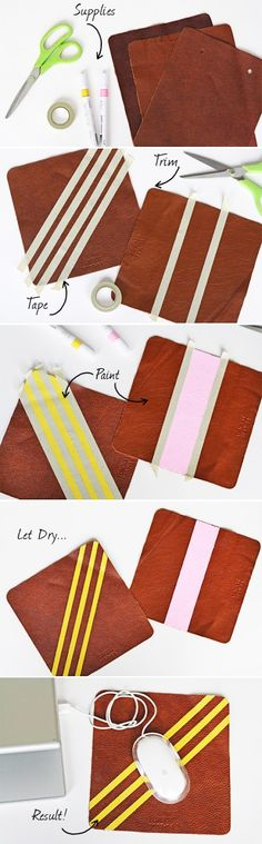 DIY :: Neon stripe Mouse Pads. Forget mouse pads I'm going to do this w/my old purses