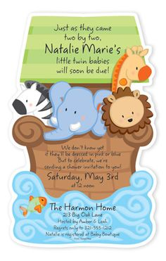 Noah's Ark Twin Shower Invite