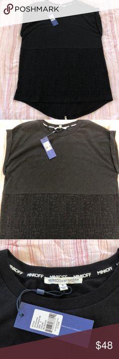 NWT Rebecca Minkoff T-Shirt S Black Rebecca Minkoff sleeveless t-shirt in black. Back grey stripe. Letters pattern. NWT! Rebecca Minkoff Tops Tees - Short Sleeve