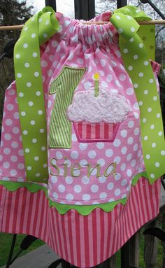 cupcake with number and name pillowcase dress by PJQuilts on Etsy, $29,99