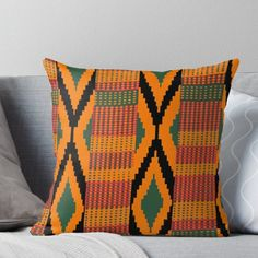 'Kente print drawing' Throw Pillow by Janai Johnson Throw Pillows Bed, Decorative Throw Pillows, Kente Styles, Pattern Illustration, Wall Tapestry, Fabric Design, Hand Weaving, Duvet Covers, Framed Prints