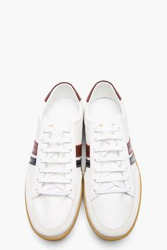 SAINT LAURENT White Tricolor Leather-trimmed low-top sneakers