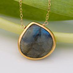 Labradorite Necklace - Bezel Necklace - Gemstone Necklace - Gold Necklace. $61.00, via Etsy.