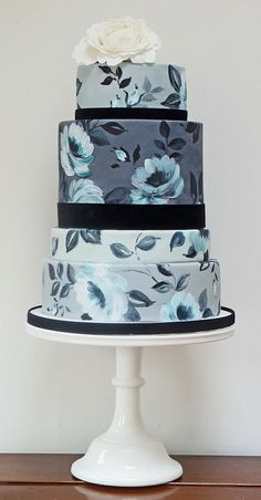 Blue Grey Vintage Wedding Cake. Out of my league...hand painted. Beautiful.