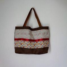 Cabas zippé en lin épais et coton  motifs ethniques