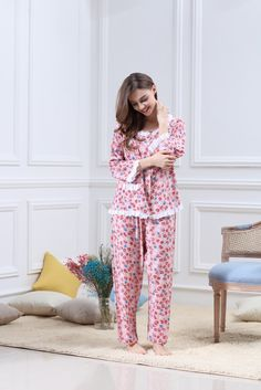 Ladies Floral Comfortable Breathable Nine Points Sleeves Home Service Two Sets Cotton Sleepwear, Cotton Pyjamas, Sleepwear Women, Night Suit For Girl, Night Dress For Women, Nighties, Nightgowns, Sewing Clothes Women, Clothes For Women