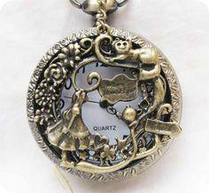 alice,cat,teapot,flower,heart,big size small star Pocket watch Locket Necklace