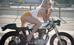 motorcycle, girl, legs, sideboob. whats not to like