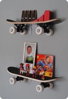 Skateboard shelves. Cute idea for any little boys room!