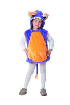 Kostüm kleines Monster, Weste mit Kapuze für Jungen und Mädchen zum Kinderfasching