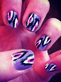 Kaitlyn's ikat patterned nails are so perfect, we thought they were stickers at first!