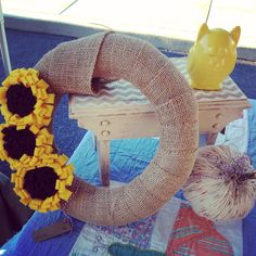 Fall Sunflower Wreath made out of burlap with felt sunflowers.