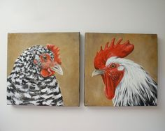 Chickens, Hen and Rooster painting, barnyard bird art canvas. square SET OF 2 Rooster Painting, Rooster Art, Chicken Painting, Chicken Art, Chicken Pictures, Chicken Images, Farm Art, Chickens And Roosters, Watercolor Animals