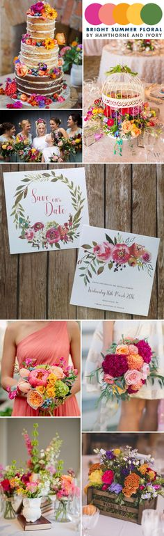 Moodboard for a bright and vibrant colourful summer wedding with plenty of flowers and floral decor and table settings
