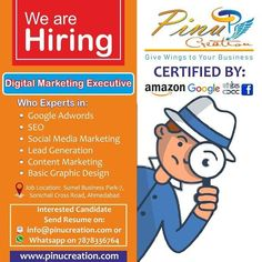 🔊 Google Certified and Govt. Approved Company 📢 We are Hiring (Urgent Requirement) ✅ Digital Marketing Executive 💠 Who Experts in: ✅ Google Adwords ✅ SEO ✅ Social Media Marketing ✅ Lead Generation ✅ Content Marketing ✅ Basic Graphic Design 👉 Interested Candidate  Send Resume on:  📧 info@pinucreation.com or 📲 Whats-app on:  7878336764  🌐 www.pinucreation.com Digital Marketing Business, Content Marketing, Online Marketing, Social Media Marketing, Website Analysis, We Are Hiring, Reputation Management, Competitor Analysis, Lead Generation