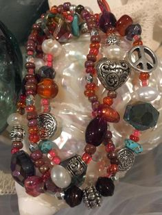 Beachy boho bracelet bundle. Peace and Love in by SunnybeachDesign