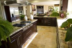 L-shaped galley kitchen design with dark wood cabinets, tile flooring nicely decorated with plants.