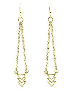 Gold Triple Arrowhead Drop Earrings from Helen's Jewels