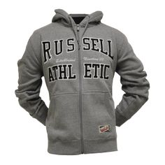 The Arch: Hooded Sweat Jacket Applique – Grey Marl – Black Logo