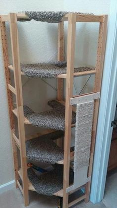 Corner cat tree out of IVAR shelving - is it possible? - IKEA Hackers - Corner cat tree out of IVAR shelving – is it possible? – IKEA Hackers Hackers Help: Corner cat tree out of IVAR shelving – is it possible? Diy Cat Toys, Cat Climber, Cat Tree House, Cat House Diy, Cat Towers, Cat Playground, Cat Enclosure, Cat Room, Cat Condo